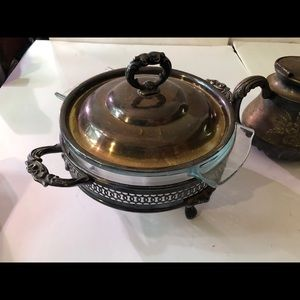 Antique Silverplated and Glass Dish set.